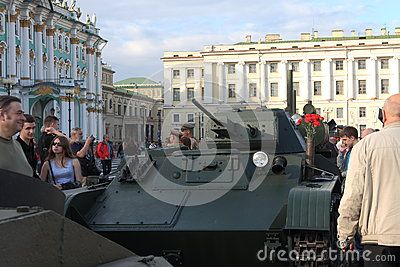 Soviet light tank T-60. This tank was involved in World War II. Restored by search engines. Palace Square. Saint-Petersburg, Russia