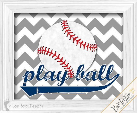 Play Ball baseball decor Baby Boys Baseball navy blue gray chevron theme nursery tball teen bedroom wall art printable digital download