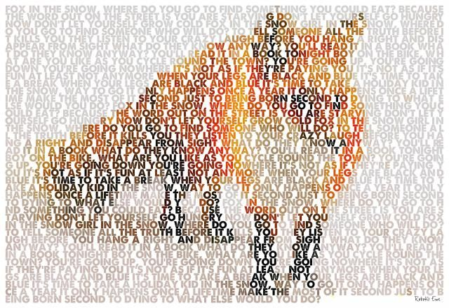Typographic red fox created from the lyrics of Fox In The Snow by Belle and Sebastian.