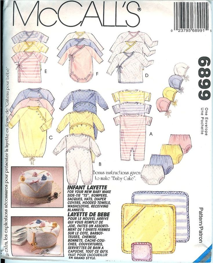 McCalls 6899 Infant Baby Layette Pattern Rompers Hats Diaper Cover Towels UNCUT #McCalls #InfantLayetteSetBabyNewborn