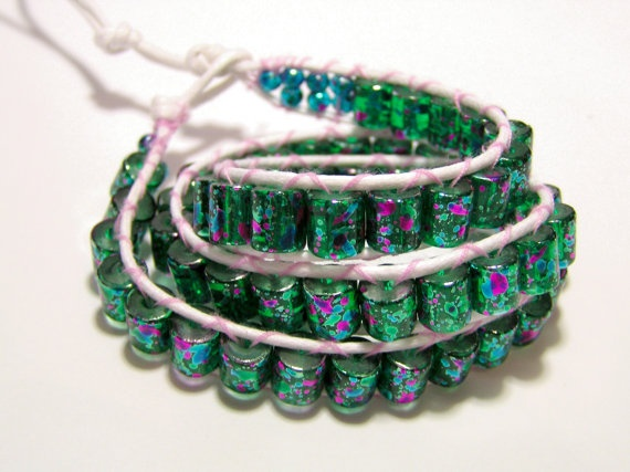 Green and turquoise beaded triple wrap bracelet by Sinners on Etsy