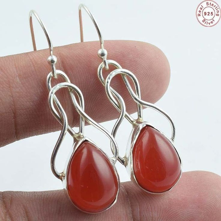 "A #stunning and #handmade 925 Sterling Silver #Natural #Carnelian Gems #Earring #Jewellery S 1 1/2""   for more, visit: www.akratijewelsinc.com"