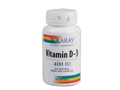Vitamin D3 400UI Solaray (Vitamina D3)  Vitamin D3 400UI Solaray (Vitamina D3) Es una complemento para el apoyo nutricional del sistema esquelético y trabaja en sinergia con el fósforo y el calcio para potenciar su absorción. Vitamin D3 400UI Solaray (Vitamina D3) contiene aceita de hígado de bacalao como fuente natural de Vitamina D. Al contener aceite de hígado de bacalao nos aporta también la Vitamia A que ayuda a favorecer la buena salud de nuestra piel, dientes, huesos y visión.