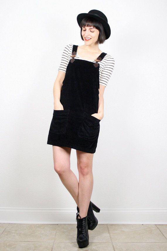 Vintage Overalls Dress Black Overall Dress Jumper Dress