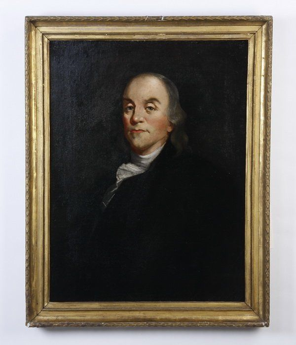 Lot: Late 19th c. portrait of Benjamin Franklin, Lot Number: 0465, Starting Bid: $1,200, Auctioneer: Great Gatsby's Auction Gallery, Inc., Auction: DAY 2 - Private Collections at Auction, Date: April 26th, 2014 CDT