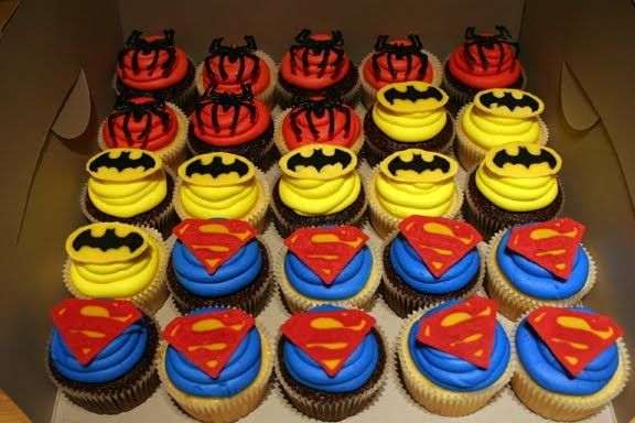 super hero cupcakes - @Heather Williams Norton something like this??
