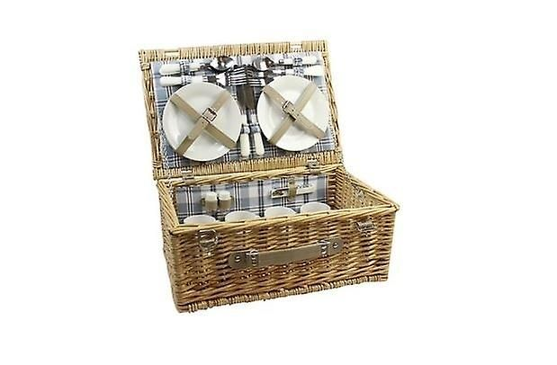 Wicker Picnic Basket Willow Hamper With Cutlery Cups Plates for 4 Person Strong Handle