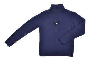 Sweater cuello tortuga para niña, en color azul oscuro.