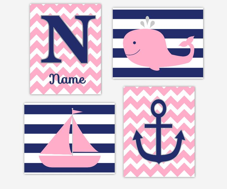 PINK NAVY Nautical Baby Nursery Wall Art Baby Girl Prints Whale Sailboat Monogram Name Personalized Art Anchor Girls Bath Art Bathroom Wall Decor Baby Nursery Decor Baby Girl SET OF 4 UNFRAMED PRINTS, $28.00