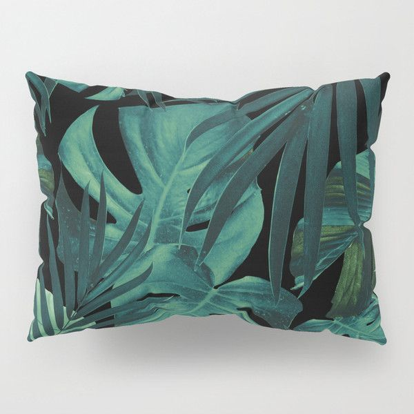 Tropical Jungle Night Leaves Pattern #1 #tropical #decor #art... (52 AUD) ❤ liked on Polyvore featuring home, bed & bath, bedding, bed accessories, jungle bedding and tropical bedding