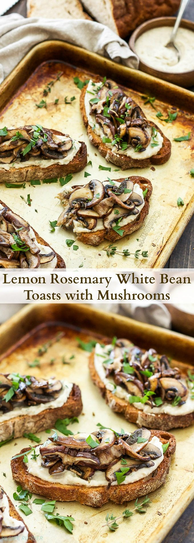 Lemon Rosemary White Bean Toasts with Mushrooms | Creamy white beans spread on…