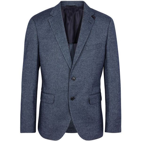 HUGO BOSS BLACK Jestor Blue Wool Blend Jacket - Size 38 (33,675 INR) ❤ liked on Polyvore featuring men's fashion, men's clothing, men's outerwear, men's jackets, mens faux leather jacket and mens blue jacket
