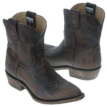 Women's Frye Billy Short Cowboy Boot Dark Brown Vintage Shoes.com