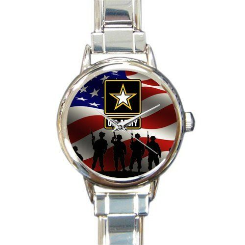 Hot Sale Watch Military US Army Soldiers and American Flag Round Italian Charm stainless steel Watch => More infor at the link of image  : Travel Gadgets