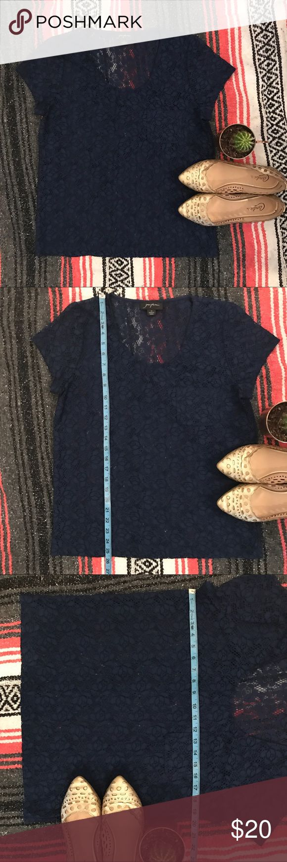 Josephine Women's Lace Dressy Casual Shirt Josephine Women's Lace Dressy Casual Shirt - Navy Blue - Size Medium - Great condition, no known flaws - UA to UA around 19 1/2 inches - Top to bottom around 25 1/2 inches - *accessories not included Josephine Tops Blouses