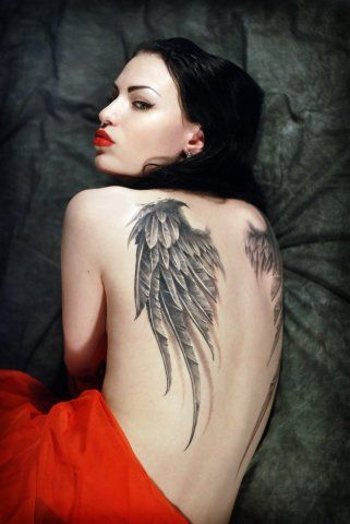 "All New & Latest Tattooz Designs"": Angel Wings Tattoos for Girls - I love the shape of these wings and the detailing...they're perfect!"