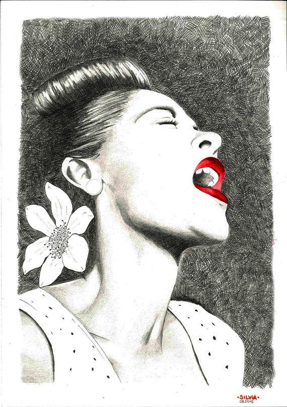 Lady Day, Billie Holiday Portrait - Fine Art Print by Daré Dof #italiasmartteam #etsy