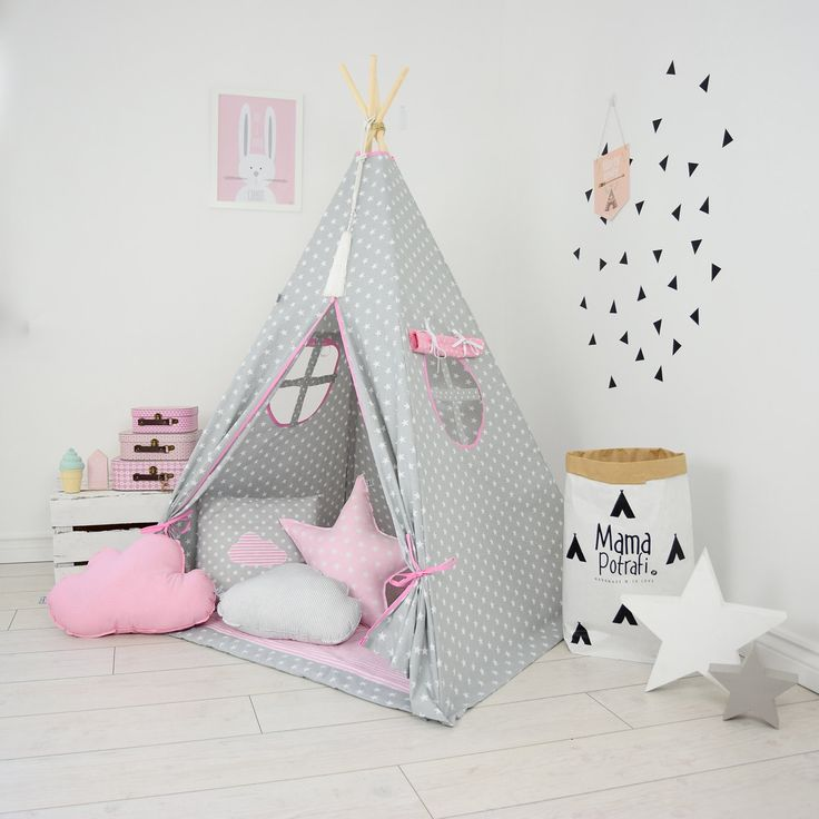 Teepee Set Kids Play Teepee Tent Tipi Kid Playhouse Wigwam Zelt Tente- Magic Moments by MamaPotrafi on Etsy