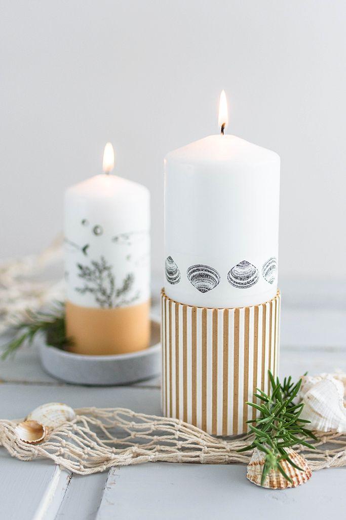 Maritime Diy Idee Kerzen Bestempeln Mit Transparenter Wachsplatte