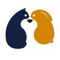 vetclan logo - Graphis. A very clever logo design that does not need any wording/letters to explain what it is. The cat and bunny shapes facing each other, in simple colours, forming the face of a dog in the centre immediately refers to a vetrenairy practice.