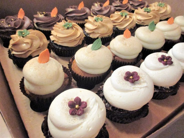 Simple but elegant fall flowers and leaves cupcakes by Flavor Cupcakery