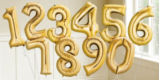 Gold Number Balloons - Party City