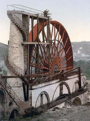 This is the Laxey Wheel on the Isle of Man. A large waterwheel built in 1854 to pump water from the mine shafts. | The Isle of Man, otherwise known simply as Mann, is a self-governing British Crown Dependency, located in the Irish Sea between the islands of Great Britain and Ireland within the British Isles.....and I have been here.  :)