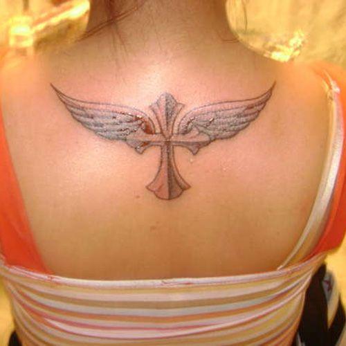 Feminine Cross Tattoos   25 Extraordinary Angel Tattoos For Women   CreativeFan