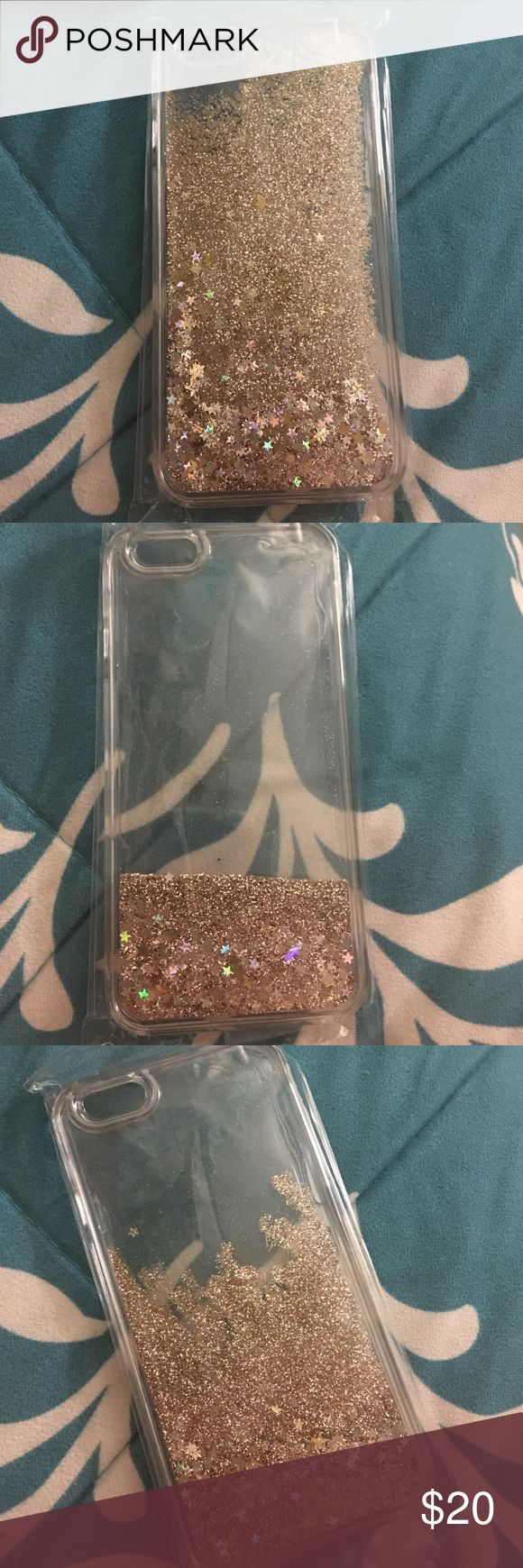 New iPhone 6/6s liquid glitter case! It is a clear plastic liquid glitter case for the iPhone 6/6s. It is Gold. It won't fit my phone because I have the 6s Plus. This case is brand new, never used and never opened! No trades! Accessories Phone Cases