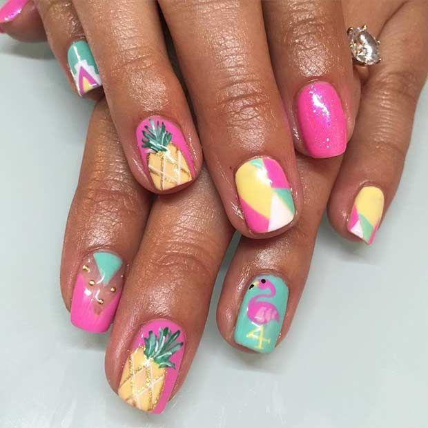 Die besten 25 pineapple nail design ideen auf pinterest ananas 35 bright summer nail designs prinsesfo Choice Image