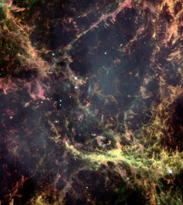 Hubble image of a small region of the Crab Nebula, showing Rayleigh–Taylor instabilities in its intricate filamentary structure.