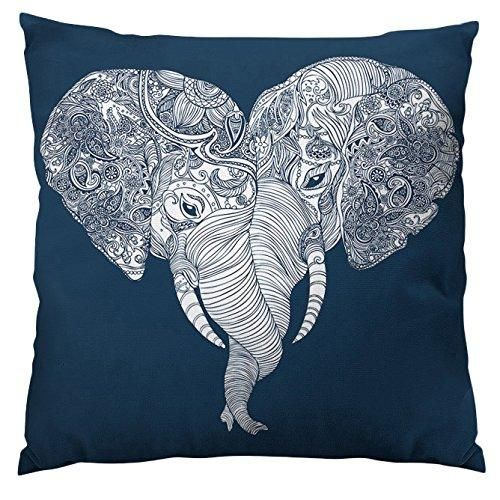 Blue Grey Punch Trunk Love Animal Throw Pillow 20 Inch Square Shape Elephant Graphic Pattern Accent Type Spot Clean Polyester Perfact Living Room