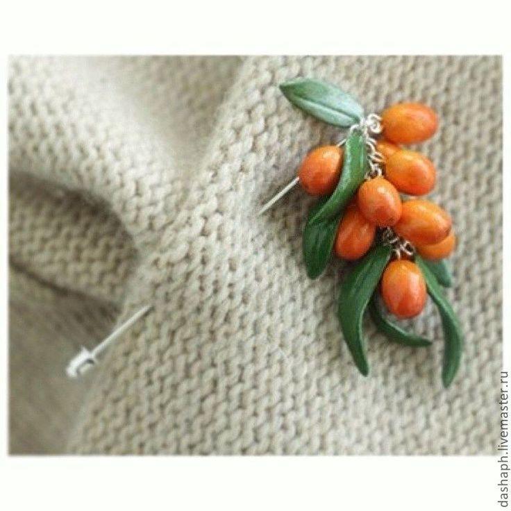 """Купить брошь-булавка """"Облепиха"""" - оранжевый, рыжий, оранжевый цвет, оранжевое настроение, оранжевое"""