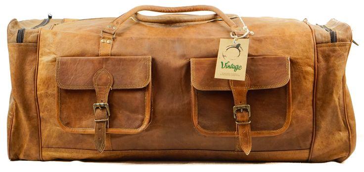 "Vintage Handmade Leather Military Style Duffel Bag Overnight Bag Weekender Bag 30 """