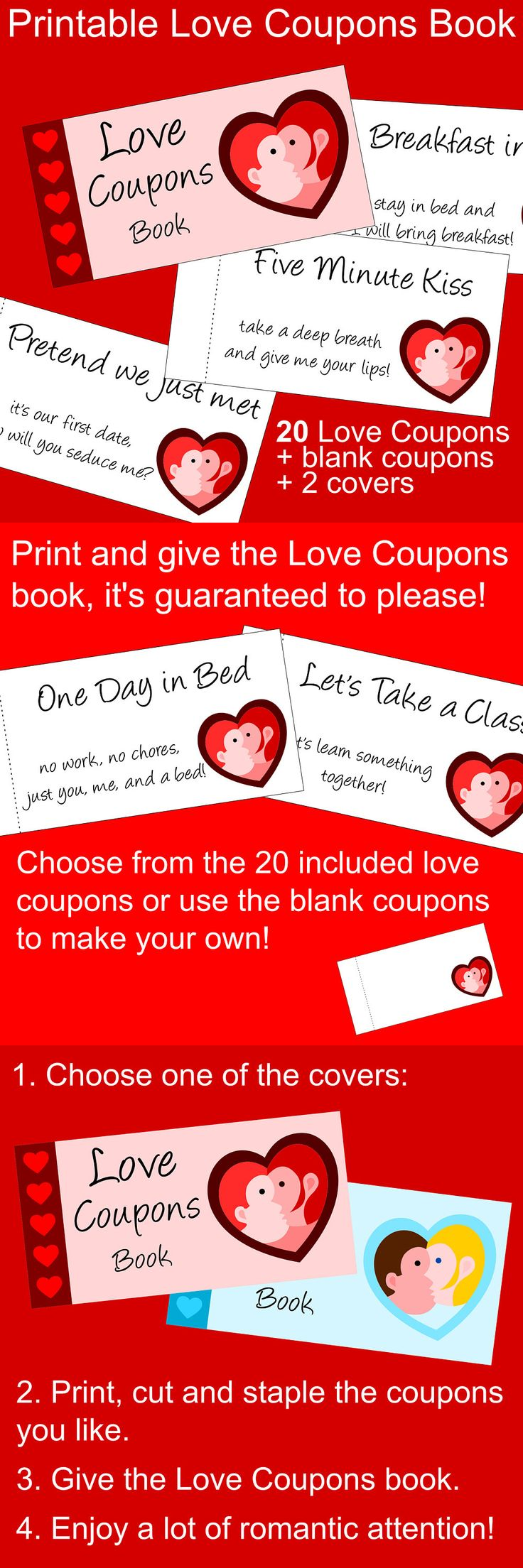 Printable Love Coupons for Valentine's Day. A perfect last minute Valentine gift idea for him and for her.