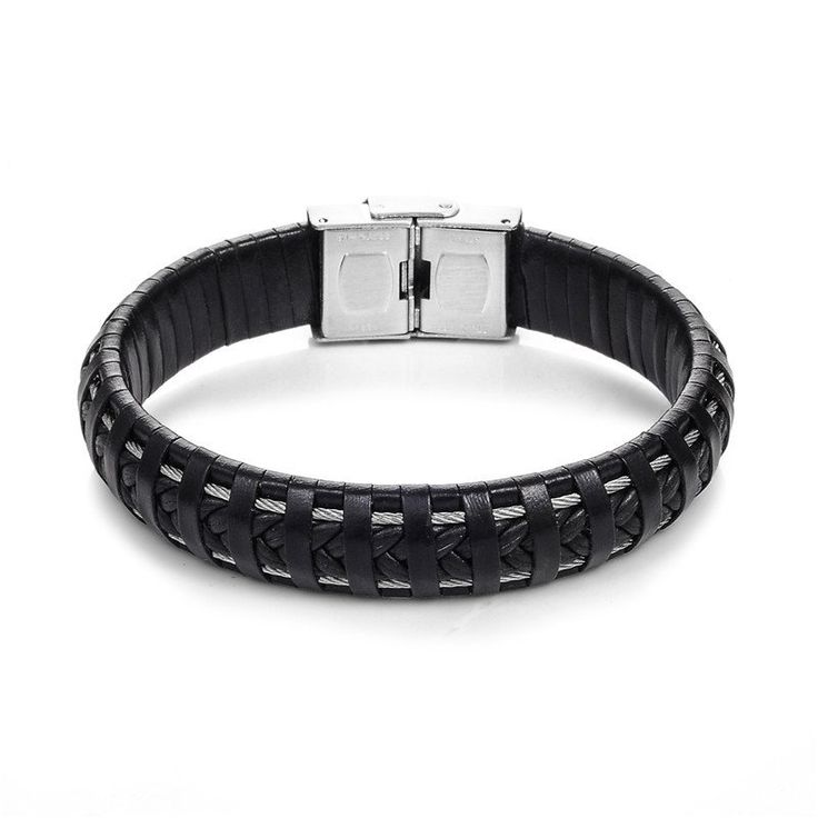 Punk Black Braided Leather Bracelet With Stainless Steel Buckle