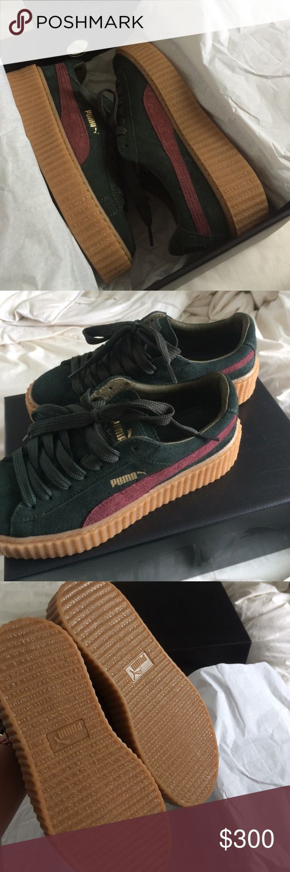 puma fenty green bordeaux never worn, come with extra lace and a fenty suede bag. original box. size 7.5 in women, eur 38 Puma Shoes Sneakers