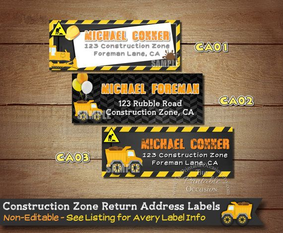 PERSONALIZED Construction Return Address Labels, Construction Envelope Labels,  Stickers,  Chalkboard Construction Mailing Labels Stickers