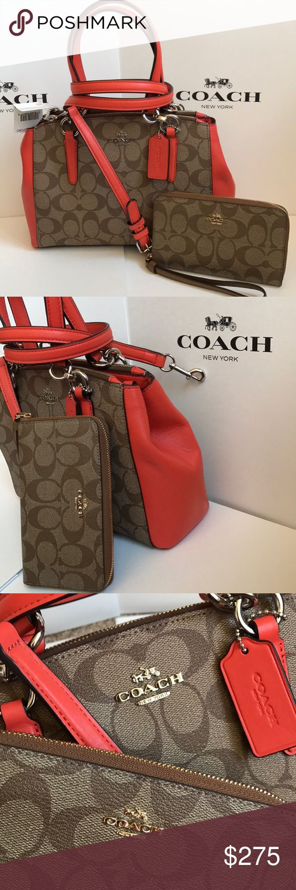 💕💥coach Satchel set💕 Both authentic brand new with tags. Khaki saddle signature color. Purse has removable strap. Silver hard wear, wallet/wristlet gold hard wear. Coach Bags Satchels