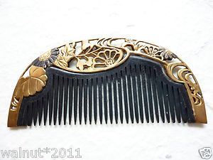 Antique-Japanese-Hair-Comb-Lacquered-Black-Kushi-3-5inch-Maiko-Geisha