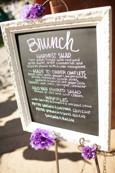 brunch wedding- love this menu