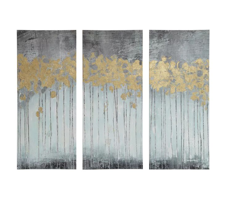 Modern 3 Piece Panel Canvas Gold Foil Wall Art Contemporary Abstract Painting