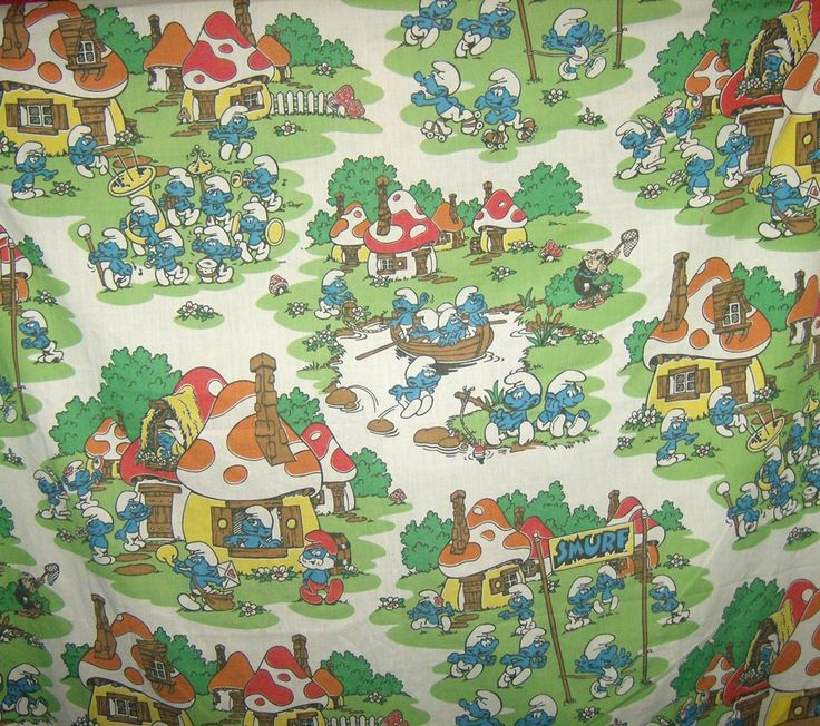 Official Smurfs Sheet Fabric Vintage Smurf Village Twin Flat Sheet Peyo 80s