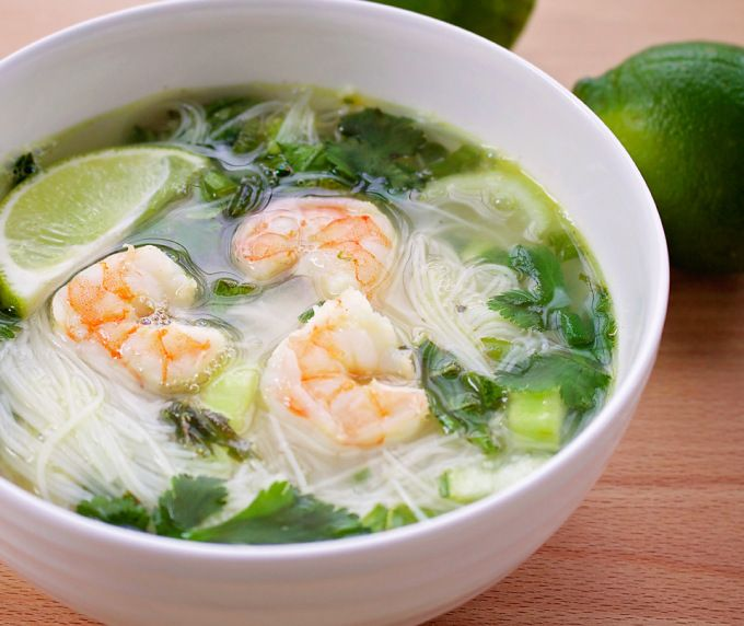 Thai Basil Noodle Soup from scratch is tangy, flavorful and nourishing. With homemade chicken stock, cilantro, lime and basil. Yum!