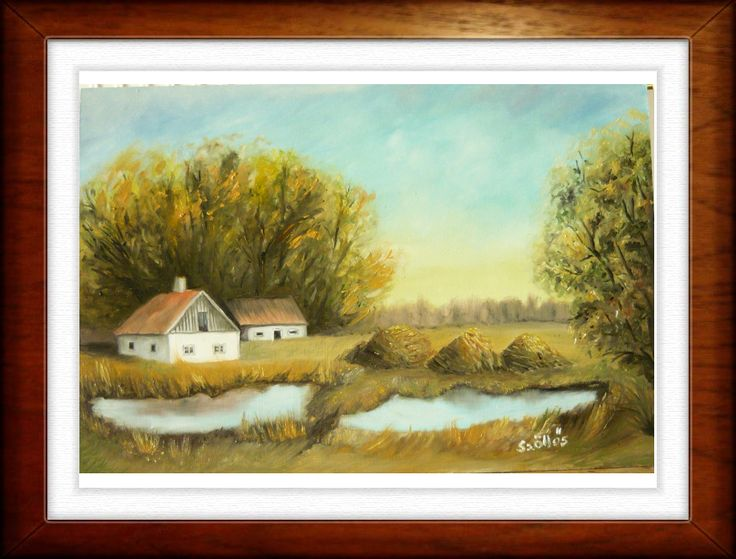 Village created by:  Szöllős Éva - oil, 20x30 cm wallboard (original: Kinva)