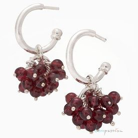 Silver & garnets earrings design Kirsti Doukas, Photography by Janne Kommonen