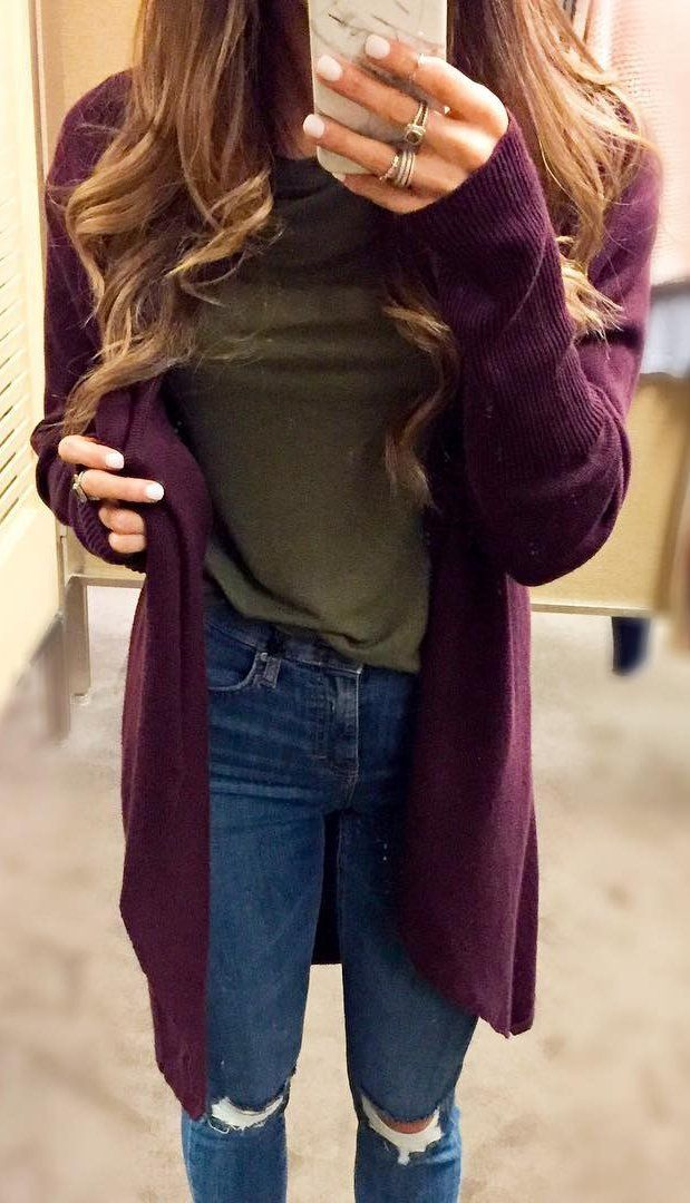 Burgundy Cardigan / Green Top / Ripped Skinny Jeans