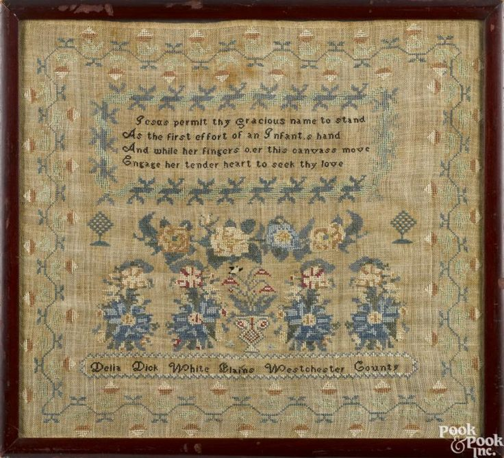 Two New York silk on linen samplers, early 19th c., wrought by Delia Dick, White Plains - Price Estimate: $800 - $1200