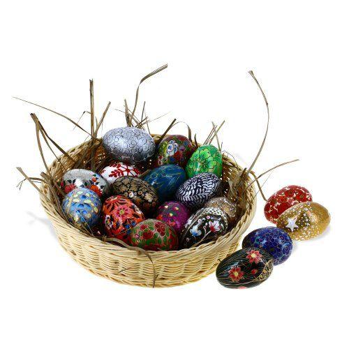 Paper Mache Wooden Ornaments Easter Eggs Decorations Set of 18 ShalinIndia http://www.amazon.com/dp/B00IJ41378/ref=cm_sw_r_pi_dp_dwKJvb12RVC8K