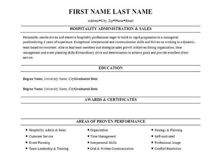 Click Here To Download This Hospitality Administration U0026 Sales Resume  Template! Http://